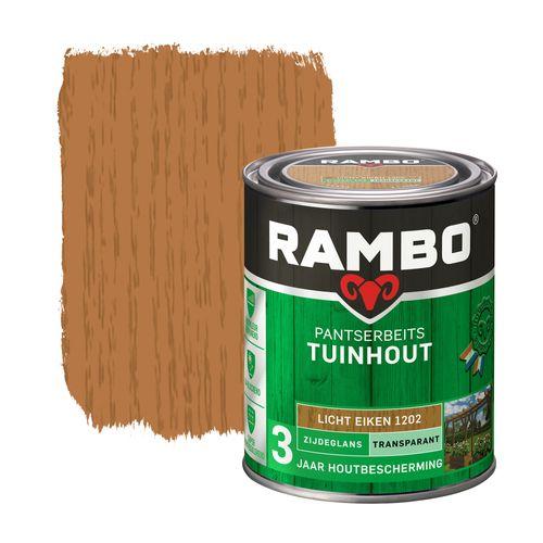 Rambo pantserbeits tuinhout zijdeglans transparantlichteiken 750ml