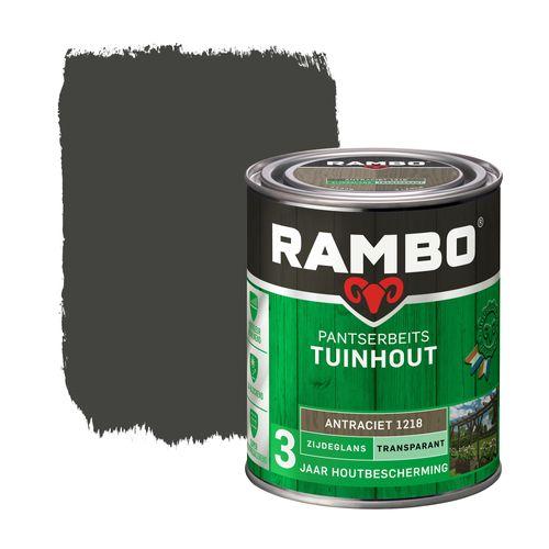Rambo pantserbeits tuinhout zijdeglans transparant antraciet 750ml