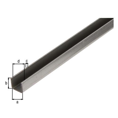 Profilé U GAH Alberts acier gris 1 m x 2 cm
