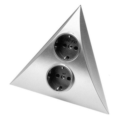 Hera hoekstopcontact 2-voudig aluminium