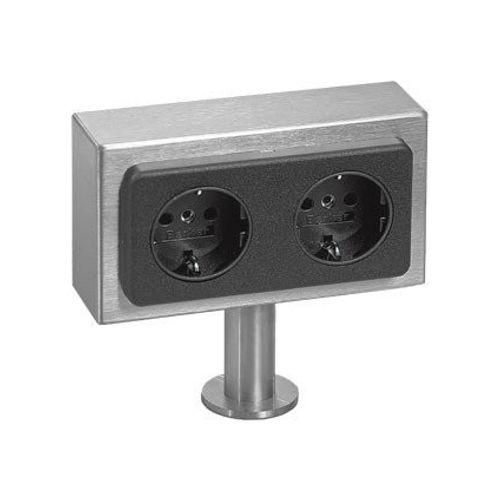 Kookeiland stopcontact 2 voudig rvs 2x aansluitsnoer