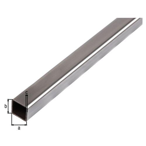 Tube carré acier GAH Alberts gris 2 m x 2,5 cm