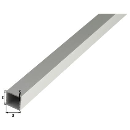 Tube carré GAH Alberts aluminium gris 1 m x 1,5 cm