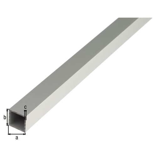 Tube carré GAH Alberts aluminium gris 1 m x 2 cm