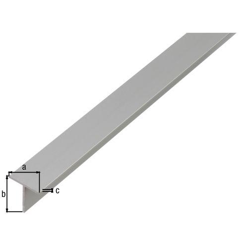Profilé T GAH Alberts aluminium gris 2 m x 2 cm