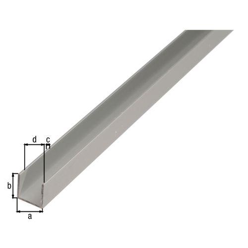 Profilé U GAH Alberts aluminium gris 2 m x 1,2 cm