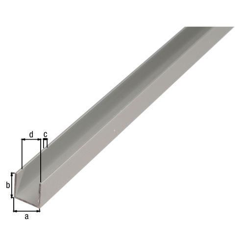 GAH Alberts U-profiel aluminium grijs 2 m x 1,6 cm