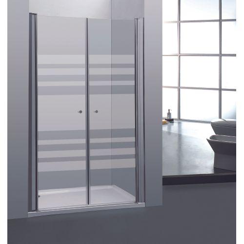 2 portes de douche pivotantes Allibert Priva 90x190cm lignes horizontales