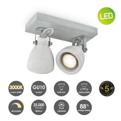 Home Sweet Home spot LED Vedi grijs 2x5,8W