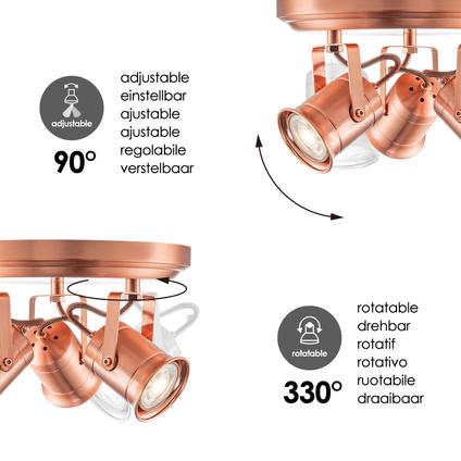 Home Sweet Home spotlamp 'Venn' koper 3x5,8W