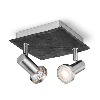 Home Sweet Home spot LED Stone vierkant mat staal 2x5,8W