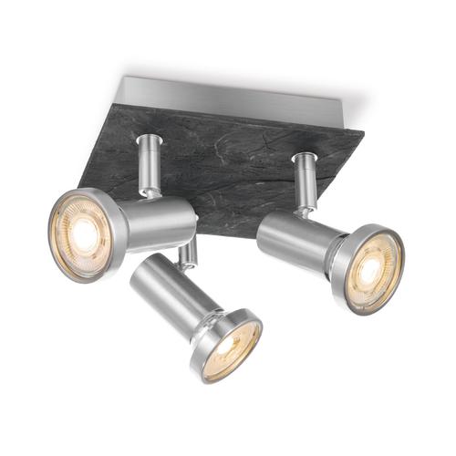 Home Sweet Home spot LED Stone acier mat 3x5,8W