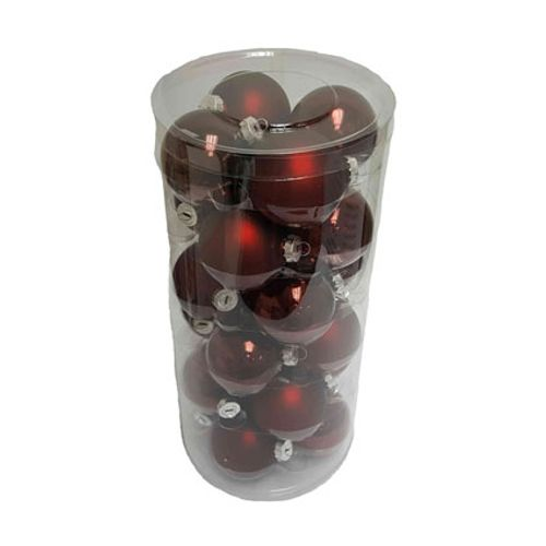 Kerstballen glas rood 24 stuks