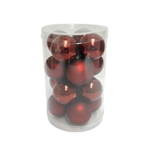 Central Park kerstballen glas rood 3,5cm 16 stuks
