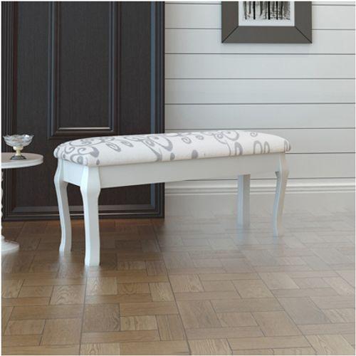 Gestoffeerde poef / tweezits toilettafel wit 110 cm