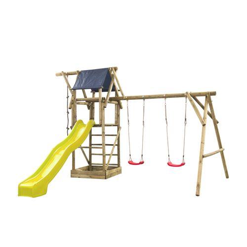 Speeltoestel Niels dubbel rond met speelhuisje en glijbaan geel
