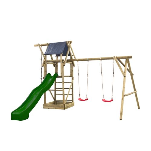 Speeltoestel Niels dubbel rond met speelhuisje en glijbaan groen