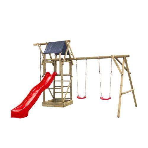 Speeltoestel Niels dubbel rond met speelhuisje en glijbaan rood
