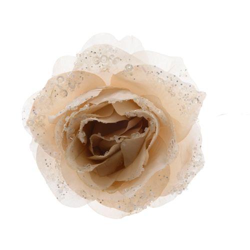 Fleur sur clip Decoris crème 14cm