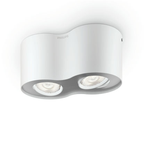 Philips spotlamp 'Phase' wit 2x4,5W