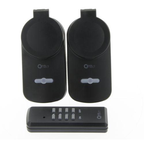 Profile stopcontact met afstandsbediening 'Qnect' 3680 W IP44 zwart - 2 stuks