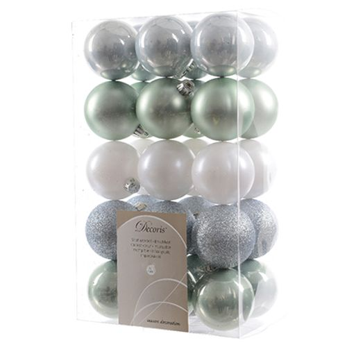 Set boules de Noël Decoris Misty lake 60mm 30 piéces