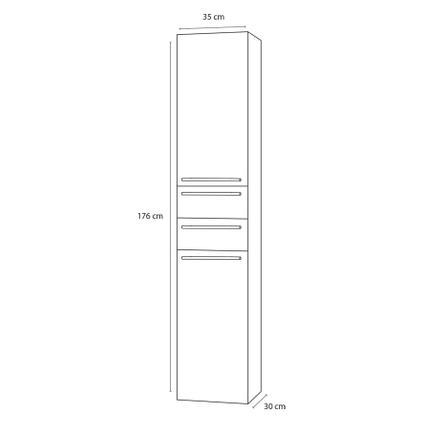 Differnz kolomkast Force hoog 176cm links grijs