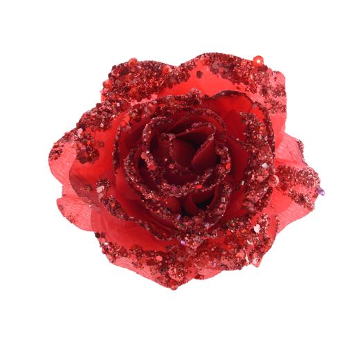 Pendentif rose sur clip rouge