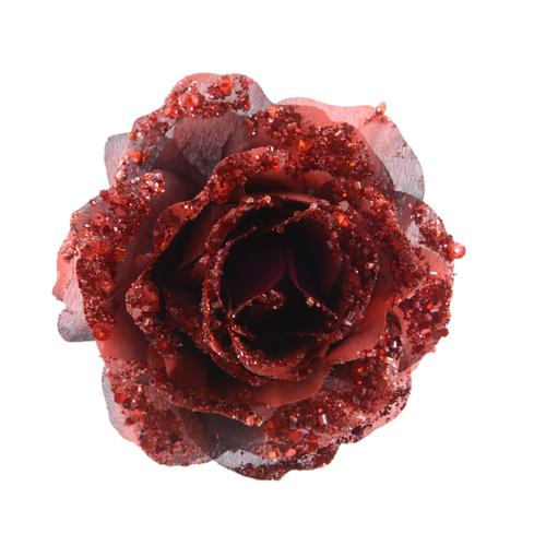 Pendentif rose sur clip bordeaux