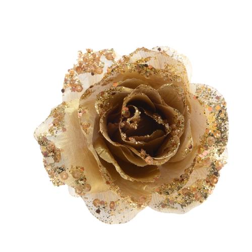 Pendentif rose sur clip or clair