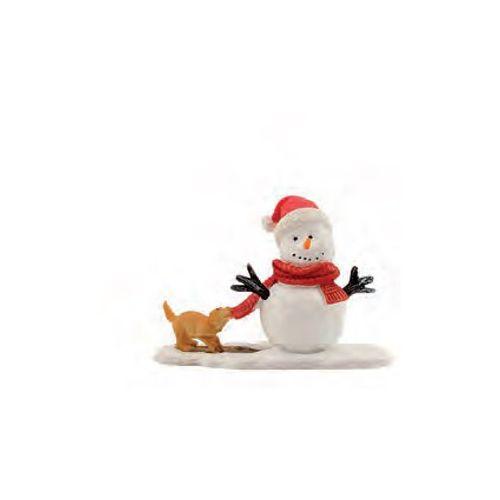 Figurine Luville chien et bonhomme de neige 10,5 x 7 x 4,5 cm