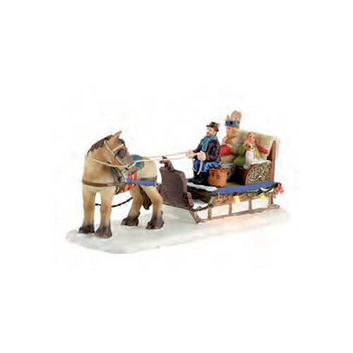 Luville beeldje paard en slee 12,5 x 9,5 x 8,5 cm