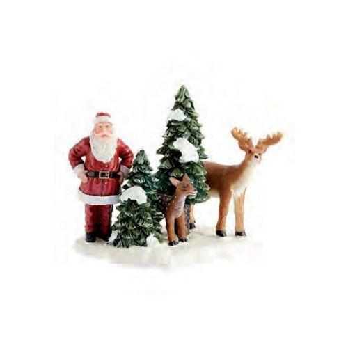 Luville beeldje Kerstman en rendieren 8,5 x 8,5 x 8 cm
