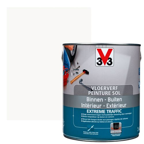 Vloerverf V33 Extrême Traffic wit satijn 500ml