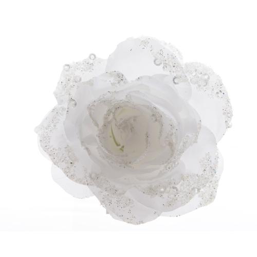 Pendentif rose sur clip blanche d'hiver