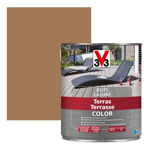 V33 Color houtbeits terras mat lichtbruin 2,5l