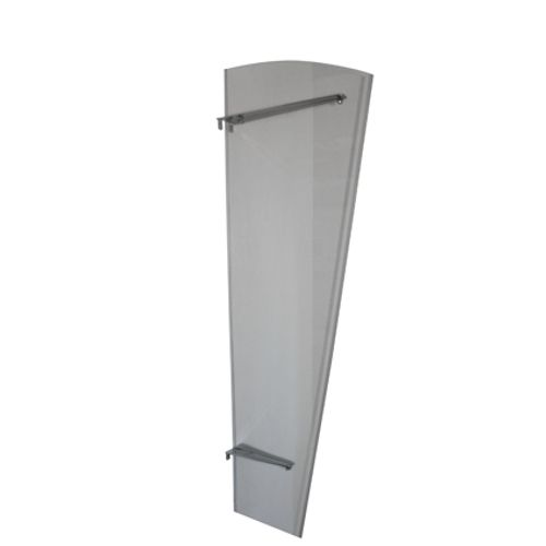 Zijpaneel Mette 167 x 60/30cm zilver