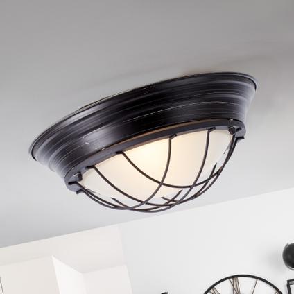 Brilliant plafondlamp Typhoon 2 zwart 2xE27
