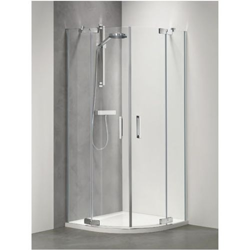 Sealskin | get wet Custom Kwartrond (R55), 90x90cm,zilverhoogglnas, 6mm helder veiligheidsglas