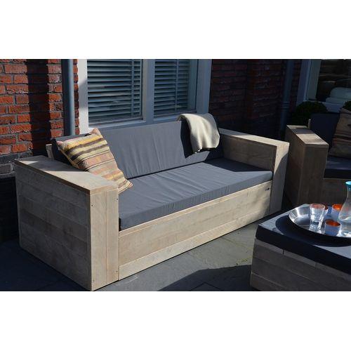 Wood4You loungebank steigerhout met kussens 200cm