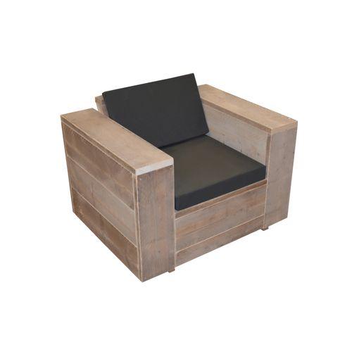 Wood4You loungestoel steigerhout met kussens