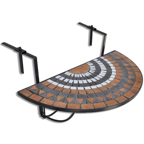VidaXL balkontafel mozaïek terracotta/wit
