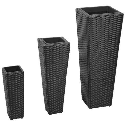 Bloembakken wicker 3 stuks (zwart)