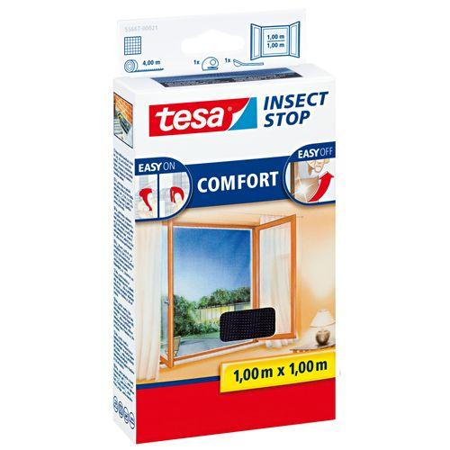 Tesa vliegenraam 'Comfort' zwart 1 x 1 m