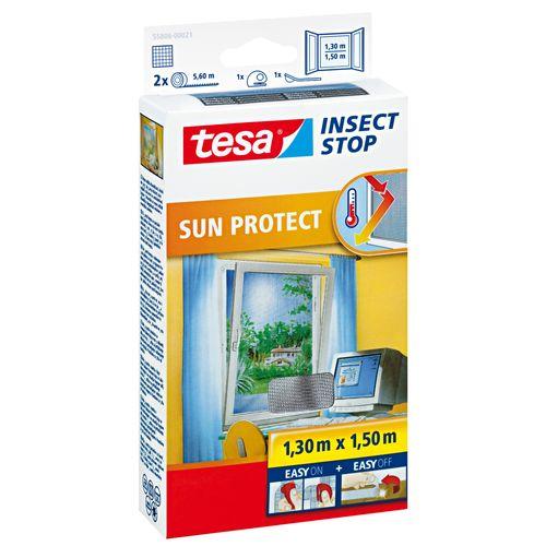 Moustiquaire pour fenêtre Tesa 'Sun Protect' noir 1,30 x 1,50 m