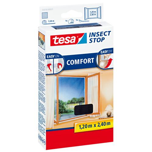 Tesa vliegenraam 'Comfort' zwart 1,20 x 2,40 m