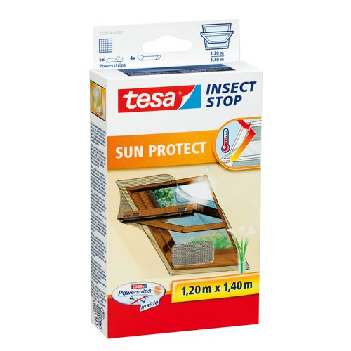 Moustiquaire pour fenêtre Tesa 'Sun Protect' noir 1,20 x 1,40 m