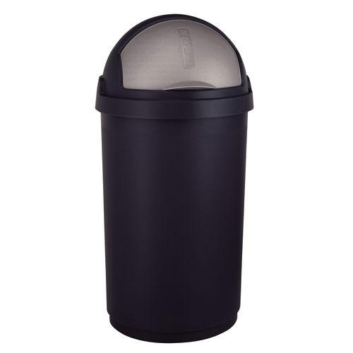 Poubelle avec couvercle roulante Curver noir argent 50L