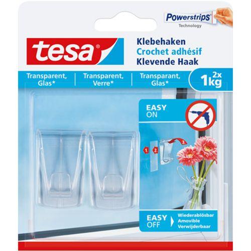 tesa klevende haak voor glas en transparant - 2 x 1 kg