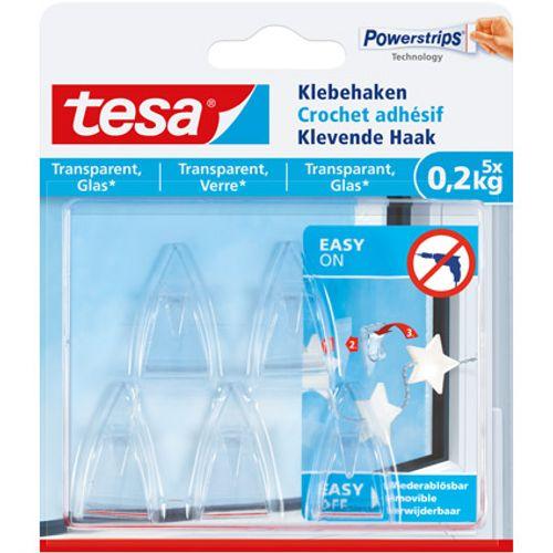 tesa klevende haak voor glas en transparant - 5 x 0,2 kg